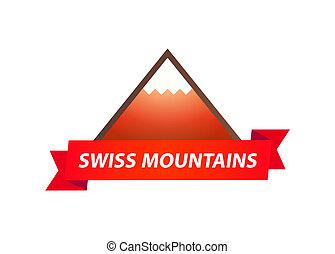 vektor, jel, közül, svájci, hegyek