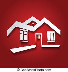 vektor, jelkép, közül, otthon, épület icon, telek, árnykép, ingatlan tulajdon, modern, jel