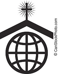 vektor, jelkép, vagy, ikon, közül, keresztény, templom, világ-, misszió
