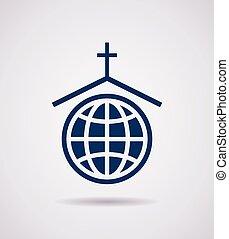 vektor, jelkép, vagy, ikon, közül, templom