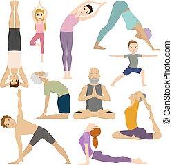 vektor, joga, leute, klub, arbeit, klassen, fitness,...