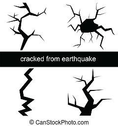 vektor, jordbävning, illustration, spricka