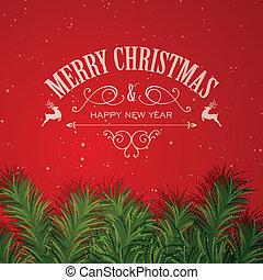 vektor, jul, hälsningskort
