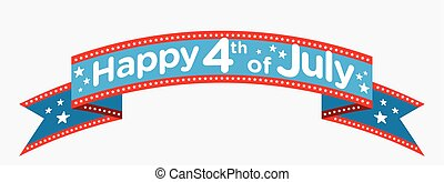 vektor, juli 4, baner, lycklig