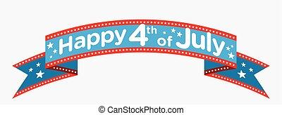vektor, juli 4, banner, glücklich