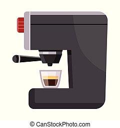vektor, kávécserje, cégtábla., részvény, gép, web., állhatatos, ital, ábra, jelkép
