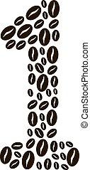 vektor, kávécserje, elkészített, szám 1, állhatatos, bab