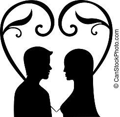vektor, kärlek, kvinna, silhuett, män