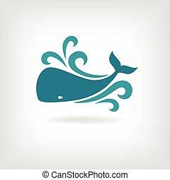 vektor, kép, közül, egy, nagy, whale.