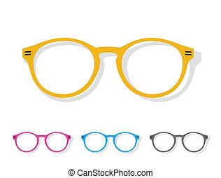 vektor, kép, közül, szemüveg, narancs