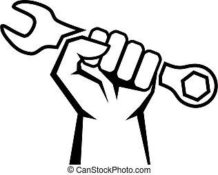 vektor, kéz, dolgozó, ikon