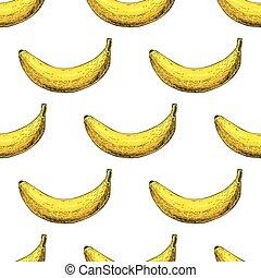 vektor, kéz, wh, elszigetelt, húzott, cél, pattern., seamless, banán