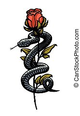 vektor, kígyó, illustration., mindenfelé, rose., körülfon