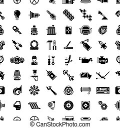 vektor, kímél, motívum, autó, seamless, alkatrészek