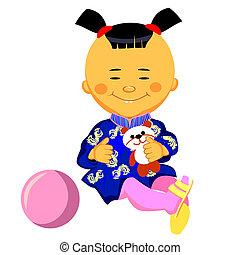 vektor, kínai, kicsi lány, bánik, noha, egy, panda
