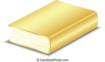 vektor, könyv, ábra, arany