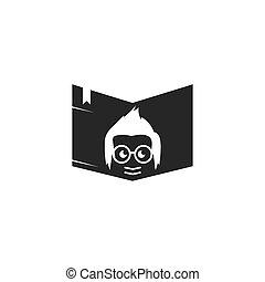vektor, könyv, ikon, geek, fiú, tervezés, ábra