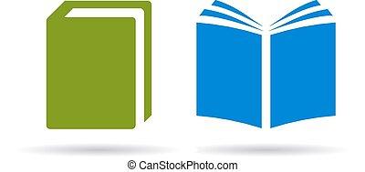 vektor, könyv, ikonok