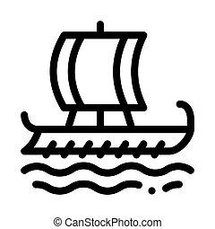 vektor, köpman, illustration, skepp, ikon, skissera, grek