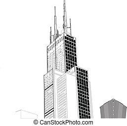 vektor, közül, chicago, felhőkarcoló