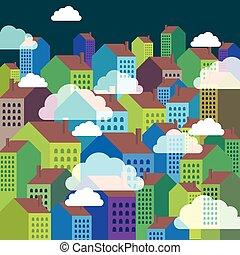 vektor, közül, színes, város égvonal