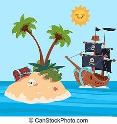 vektor, kalózkodik, sziget, ábra, kincs, hajó