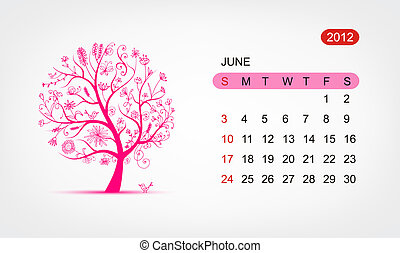 vektor, kalendář, 2012, june., umění, strom, design