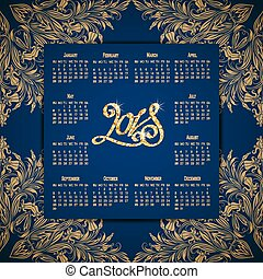 vektor, kalendář, jako, 2018