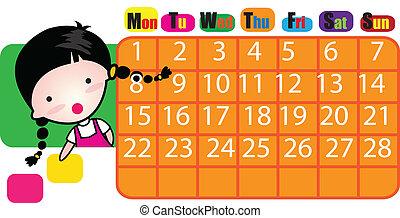 vektor, kalender, 2012