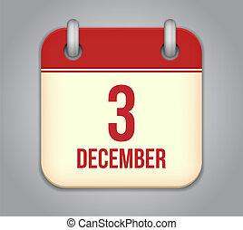 vektor, kalender, app, icon., 3, december