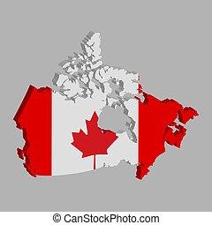 vektor, kanada karte, fahne, abbildung, 3d, eps10