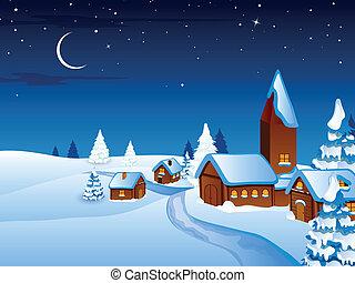 vektor, karácsony, éjszaka in, a, falu
