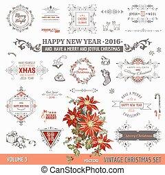 vektor, karácsony, alapismeretek, dekoráció, -, calligraphic, díszlet tervezés, szüret, keret, oldal