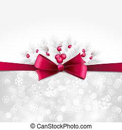 vektor, karácsony, háttér, noha, íj, és, magyal