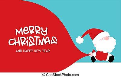 vektor, karácsony, köszönés kártya