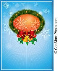 vektor, karácsony, keret