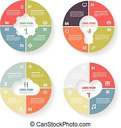 vektor, karika, infographic, set.