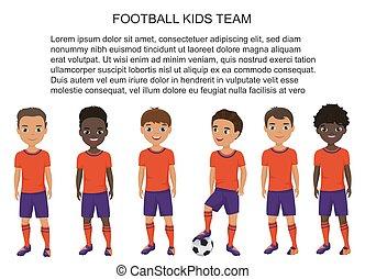 vektor, karikatúra, izbogis, labdarúgás, futball, gyerekek, befog, alatt, egyenruha, isolated.