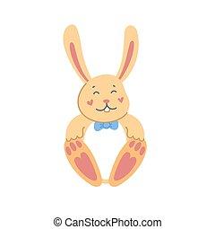vektor, karikatúra, nyuszi, háttér., ábra, fehér, rabbit., lakás, mód, húsvét, csinos
