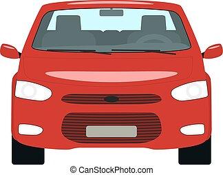 vektor, karikatúra, piros autó, eleje kilátás