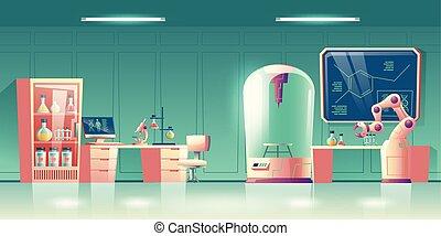 vektor, karikatúra, tudomány, német szabványügyi bizottság, laboratórium, módosítás