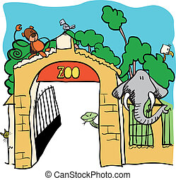 vektor, -, karikatur, abbildung, zoo