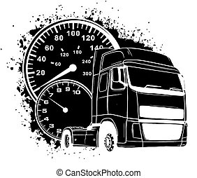 vektor, karikatur, design, halb, kunst, lastwagen, abbildung