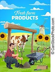 vektor, karikatur, kleingarten, landwirt, pflanzen baum