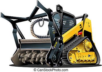 vektor, karikatur, land reinigen, mulcher
