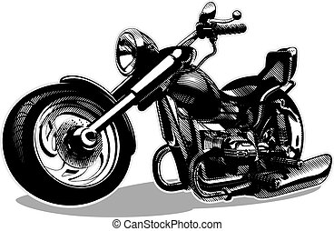 vektor, karikatur, motorrad