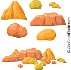 vektor, karikatur, satz, steine, mineralien