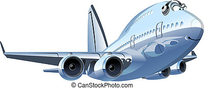 vektor, karikatur, verkehrsflugzeug