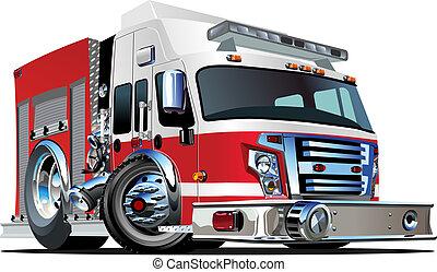 vektor, karikatura, hasicí vůz