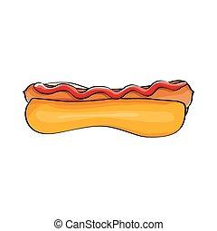 vektor, karikatura, hotdog, ikona, s, klobása, osamocený, oproti neposkvrněný, grafické pozadí., vinobraní, párek, charakterizovat, design, element.